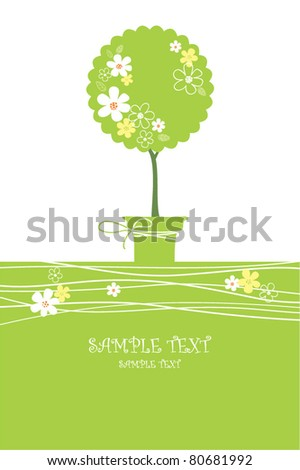 card with stylized tree in pot