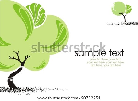 card with stylized trees and text