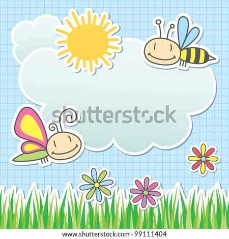 card with sun, cloud, butterfly and bee