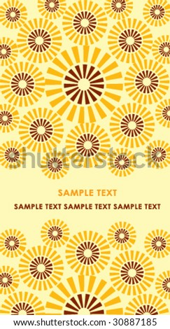 Card with sunflower - stock vector
