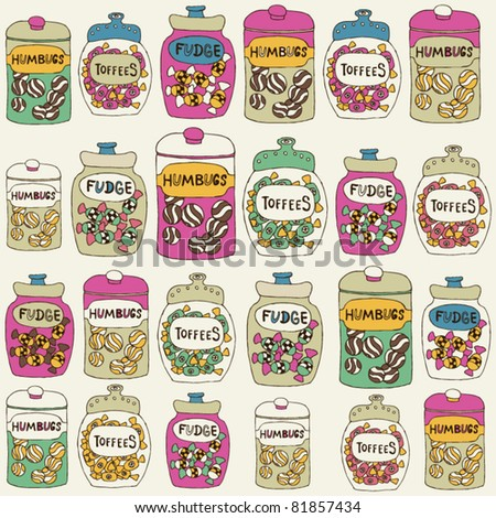 card with sweet jars full of candies