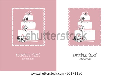 stock vector card with sweet pink wedding cake wedding cake brochures