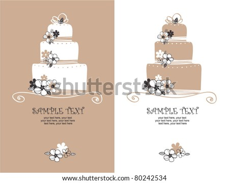 card with sweet wedding cake