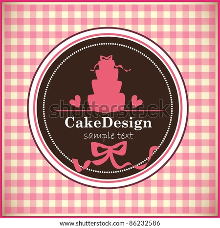 stock vector card with sweet wedding cake