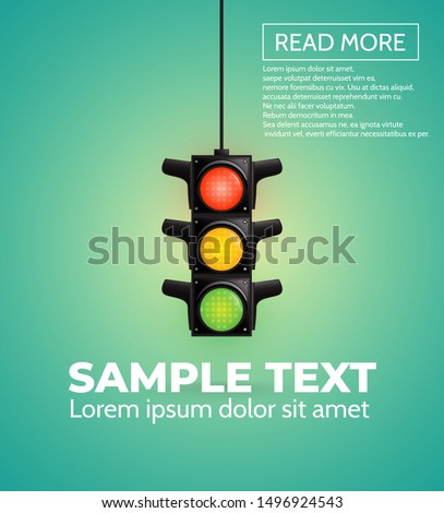 Card with traffic light, vector.