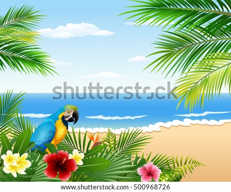 card with tropical beach