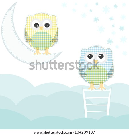 Card with two owls on branch at day. vector