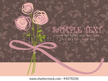 card with vector stylized roses and text - stock vector