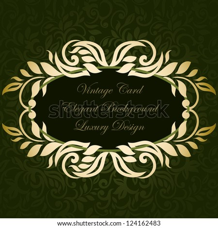 Card with vintage floral frame - stock vector