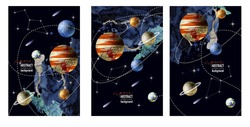Card with watercolor  space and planets. Abstract vector background.