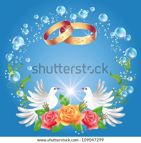 card with wedding rings and two