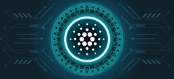 Cardano ADA coin symbol with crypto currency themed background design. Modern neon color banner for ADA or cardano icon. Blockchain technology, digital innovation or trade exchange concept.