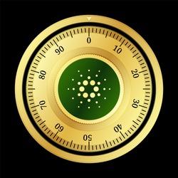 Cardano (ADA) cryptocurrency safe lock. Eps10 vector illustration isolated on black background.