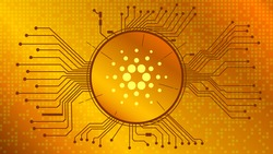 Cardano cryptocurrency token symbol, ADA coin icon in circle with pcb on gold background. Digital gold in techno style for website or banner. Vector EPS10.