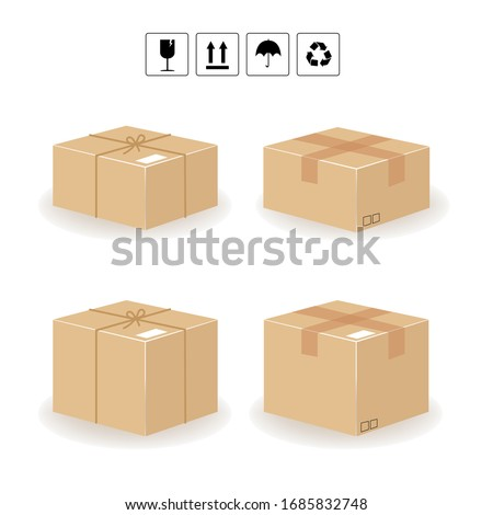 Cardboard box and Carton delivery packaging. flat design