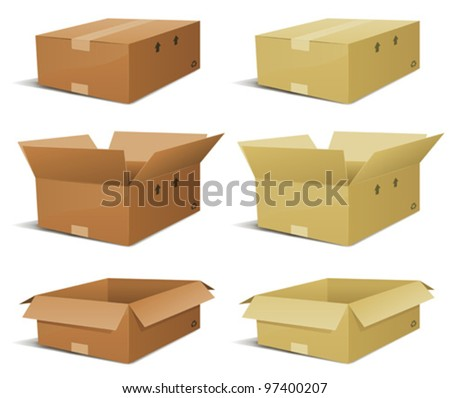 Cardboard Box Delivery Set/ Illustration of a set of various cardboard box delivery, open and closed in two  colors