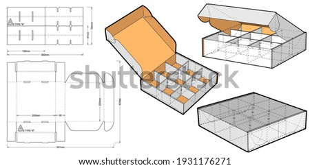 Cardboard box for sending mail. Ease of assembly, no need for glue (internal measurement of each separator 6x6x5 cm) and Die-cut Pattern. The .eps file is full scale and fully functional. Сток-фото ©