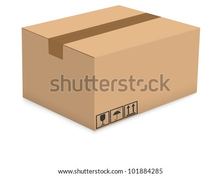 Cardboard box isolated on the white background. Vector illustration.