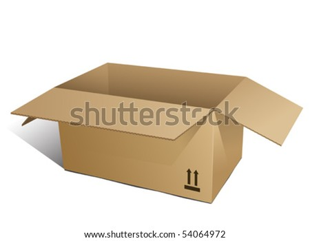 Cardboard Box opened. Isolated on white background.