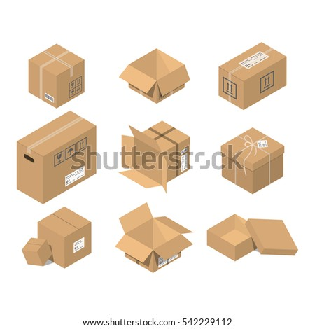 Cardboard box vector packaging for delivery. Boxlike package. Cartoon parcel flat style illustration isolated on white background.