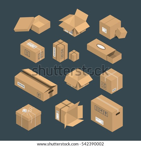 Cardboard box vector packaging for delivery. Boxlike package. Cartoon parcel flat style illustration isolated.