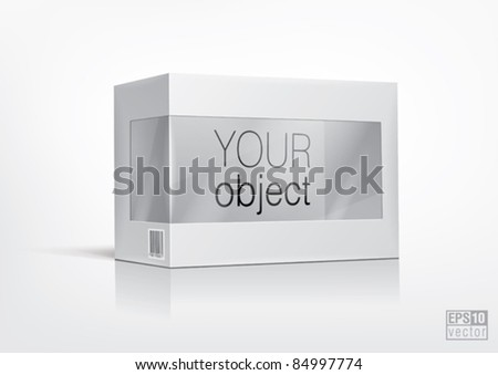 Cardboard box with a transparent plastic window for new design. Eps10 vector - stock vector