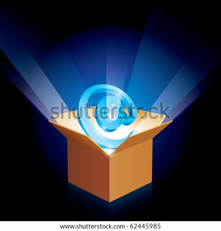 Cardboard box with e-mail sign on the black.