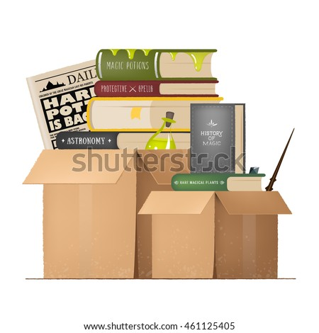 cardboard box with objects