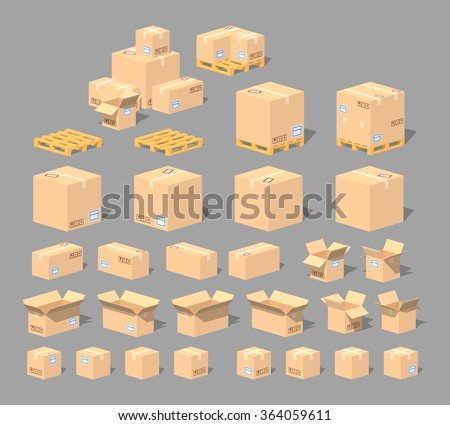Cardboard boxes and pallets set. 3D lowpoly isometric vector illustration. The set of objects isolated against the grey background and shown from different sides