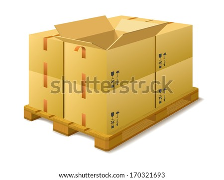 Cardboard boxes on a pallet in a warehouse on a white background.