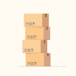 Cardboard boxes stacked on each other, on white background, isolated. Vector, illustration, flat
