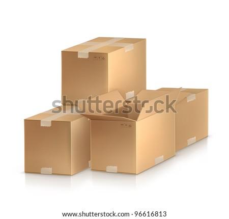 Cardboard boxes, vector