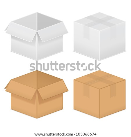Cardboard boxes, vector eps10 illustration - stock vector