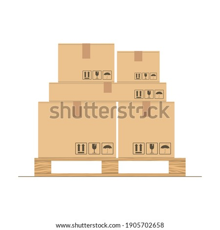 Cardboard boxes with fragile signs on wooden pallet. Delivery packaging box. Warehouse goods and cargo transportation. Cargo wood pallets and parcels. Sealed boxes for post transport, warehouse.