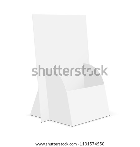 Cardboard brochure display stand. Flyer holder mockup isolated on white background. Vector illustration
