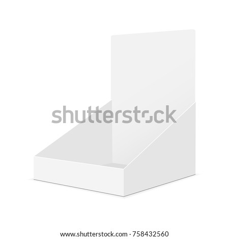 Cardboard display box mockup - half-side view. Vector illustration