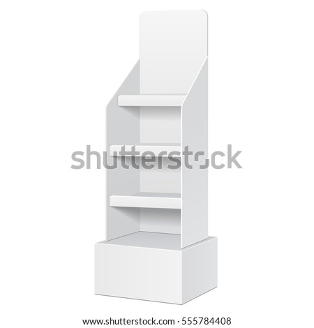 Cardboard Floor Display Rack For Supermarket. Blank Empty Shelves Mock Up. Illustration Isolated On White Background. Ready For Your Design. Product Advertising. Vector