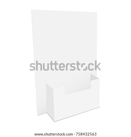 Cardboard flyer dispenser isolated on white background. Brochure holder mockup. Pamphlet display. Vector illustration