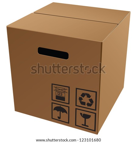 Cardboard packaging with symbols for transport and storage. Vector illustration.