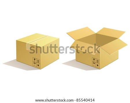 Cardboard parcel. Box package icon.