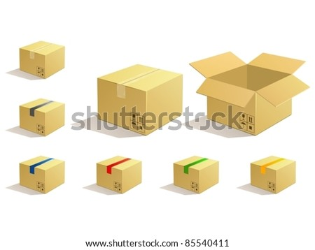 Cardboard parcel. Box package icons.