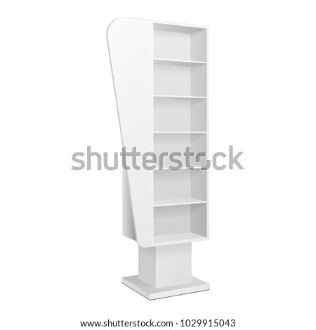 Cardboard Retail Shelves Floor Display Rack For Supermarket Blank Empty. Mock Up. 3D On White Background Isolated. Ready For Your Design. Product Advertising. Vector EPS10