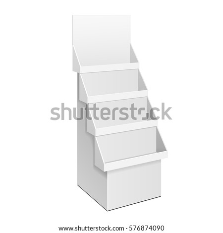 Cardboard Retail Shelves Floor Display Rack For Supermarket Blank Empty With Banner Mock Up. 3D On White Background Isolated. Ready For Your Design. Product Advertising. Vector EPS10