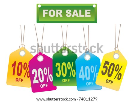 Cardboard Sales Tags. Vector illustration