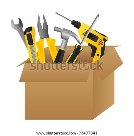Cardboard tool box on white background, vector illustration