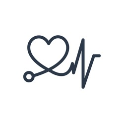 Cardiac care icon. Isolated heart pulse and cardiac care icon line style. Premium quality vector symbol drawing concept for your logo web mobile app UI design.