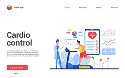Cardio control vector illustration. Cartoon patient character training cardiovascular system, running on treadmill in medical examination. Interface website design of cardiology healthcare medicine
