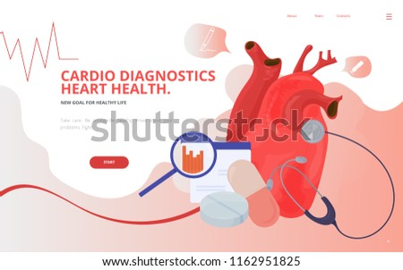 Cardio or cardiovascular heart diagnostics concept vector illustration. Heart tests or Cardiology diagnostics site landing page wireframe. Cardio or Cardiology conference report presentation template.