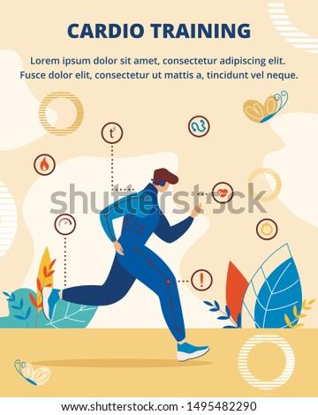 Cardio Training Vertical Banner. Summer Sport Athletics, Running Discipline. Sportsman Running Distance Exercises Developing Agility and Endurance Informational Poster Cartoon Flat Vector Illustration