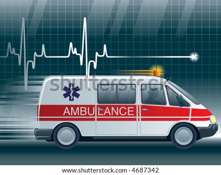 Cardiogram and an ambulance, vector